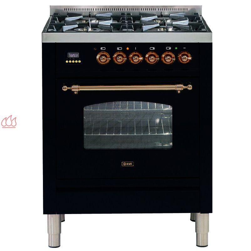 Cuisini re de 70cm avec 1 four table de cuisson 4 foyers gaz dont 1 foyer wok avec tiroir de - Piano avec four gaz ...