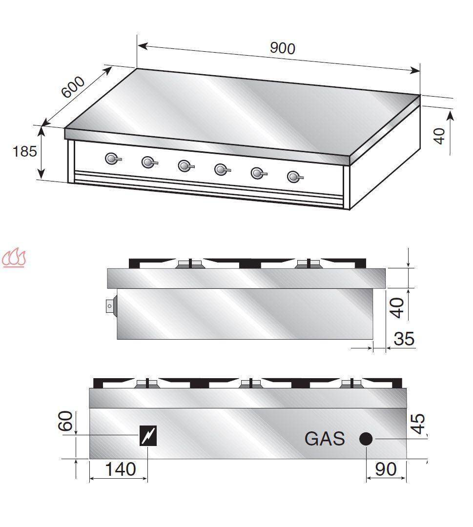 plaque de cuisson gaz 90 cm inox 224 poser 6 foyers dont 1 wok dual 5 kw ilve ec ilv393 mon