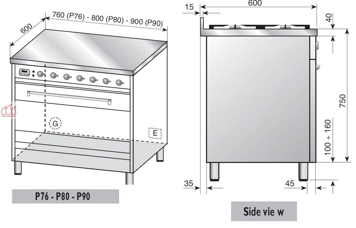 Piano de cuisson inox 80cm avec 1 four table de cuisson 5 foyers gaz dont 1 poissonni re ilve - Piano avec four gaz ...