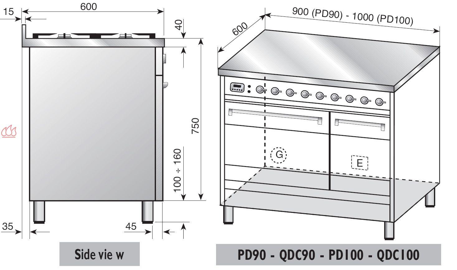 Piano de cuisson inox 100cm avec 2 fours table de cuisson personnalisable i - Piano de cuisson 2 fours ...