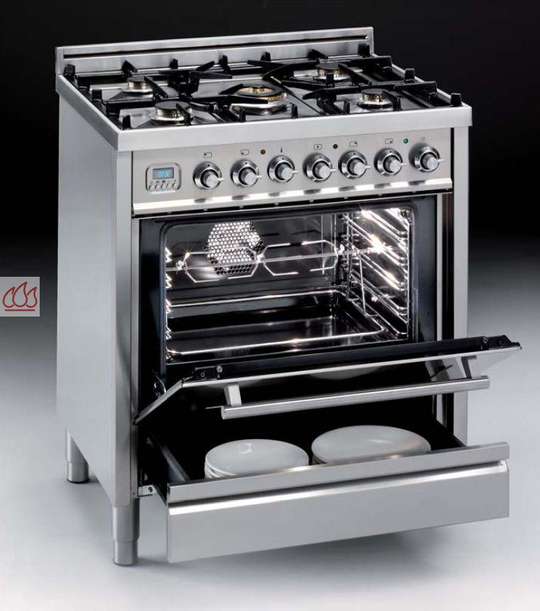 Cuisinière inox 76cm avec 1 four + table de cuisson 5 foyers gaz ...