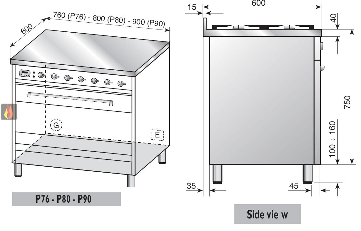 Piano de cuisson 80cm avec 1 four table de cuisson personnalisable avec tir - Piano de cuisson 80 cm ...