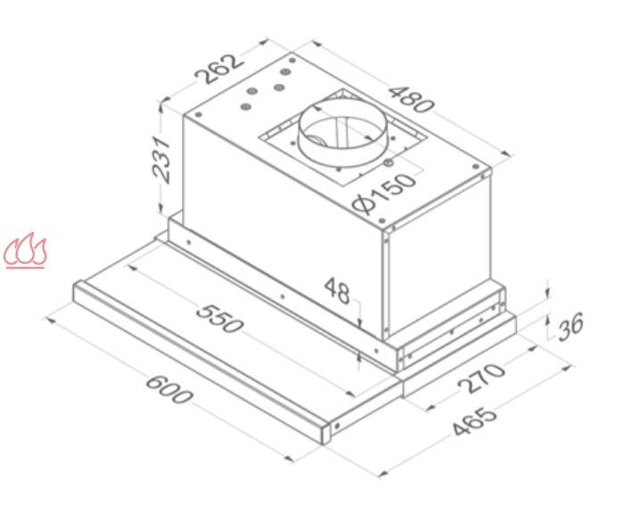 Hotte tiroir inox encastrable dans un meuble haut avec for Hotte integree dans meuble haut
