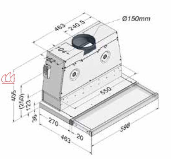 Hotte tiroir inox 2 moteurs encastrable dans un meuble for Hotte aspirante avec moteur exterieur
