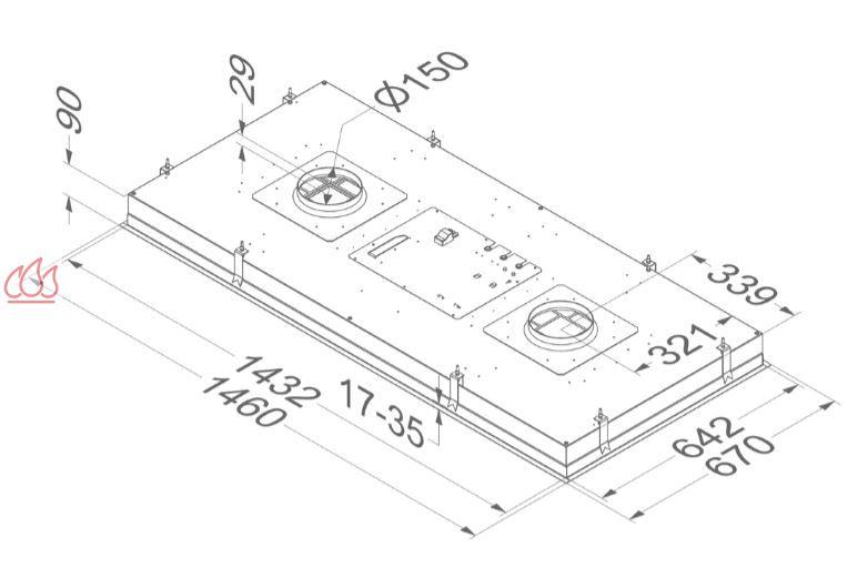 hotte de plafond inox sans moteur extra large de 150cm de. Black Bedroom Furniture Sets. Home Design Ideas