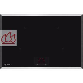 Table de cuisson induction 77cm encastrable noire 4 foyers for Plaque induction avec cadre inox