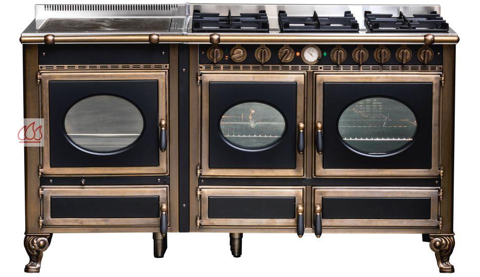 Piano de cuisson bois gaz et lectrique 160cm avec 2 fours et plaque de cui - Piano de cuisson 2 fours ...