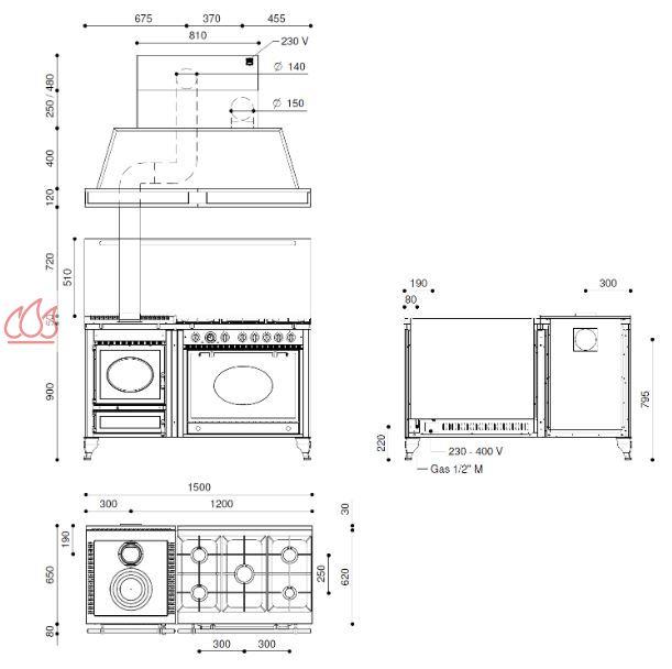 piano de cuisson bois gaz et lectrique 150cm avec 1 four et une plaque de cuisson. Black Bedroom Furniture Sets. Home Design Ideas