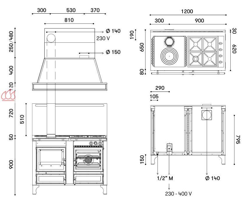 Piano de cuisson 120cm 1 four lectrique plaque de cuisson personnalisable - Piano de cuisson four electrique ...