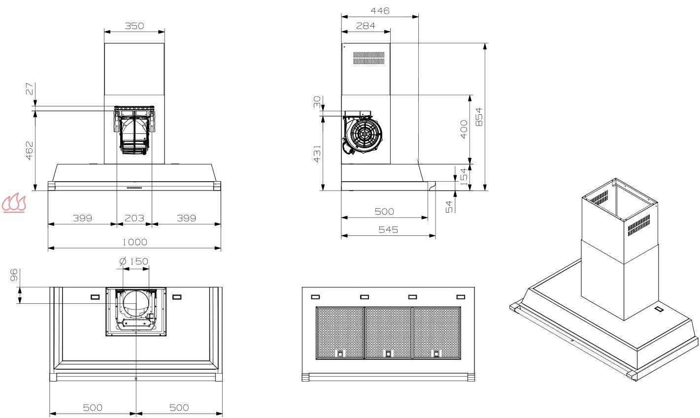 hotte d corative murale avec clairage led ajustable en hauteur steel cucine ec ste413 mon. Black Bedroom Furniture Sets. Home Design Ideas