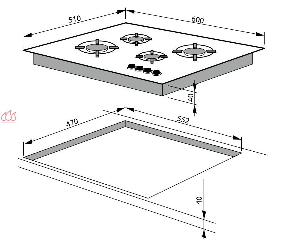 Table de cuisson gaz 60cm encastrable noire 4 foyers avec - Table cuisson gaz siemens ...