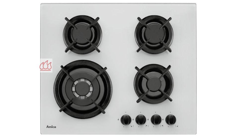 table de cuisson gaz 60cm encastrable blanche 4 foyers avec foyer double couronne amica ec. Black Bedroom Furniture Sets. Home Design Ideas