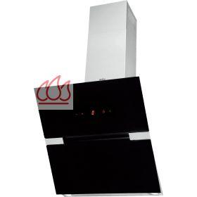 Hotte d corative inclin e murale noire 60cm en inox et verre avec clairage halog ne ajustable - Hotte decorative inclinee ...