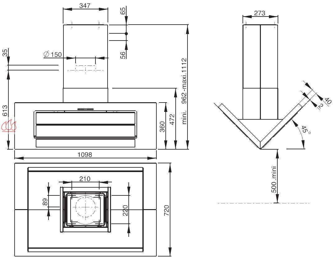 hotte lot inox 110cm avec clairage leds ajustable en hauteur roblin ec rob420 mon espace. Black Bedroom Furniture Sets. Home Design Ideas