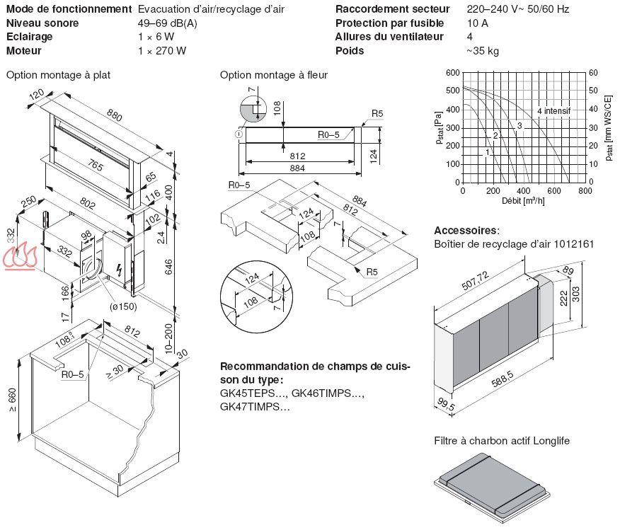 Hotte plan de travail t lescopique 88cm noire v zug ec vzu416 mon espace c - Hotte sur plan de travail ...