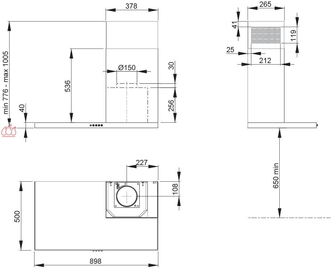 hotte murale inox 90cm asym trique avec conduit droite ajustable en hauteur roblin ec rob4004. Black Bedroom Furniture Sets. Home Design Ideas