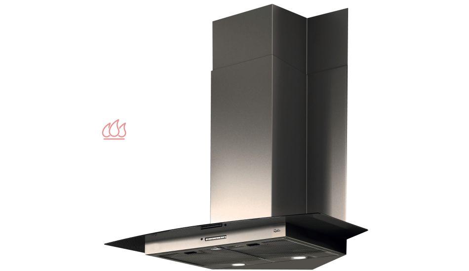 hotte d 39 angle verre noir inox ajustable en hauteur roblin. Black Bedroom Furniture Sets. Home Design Ideas