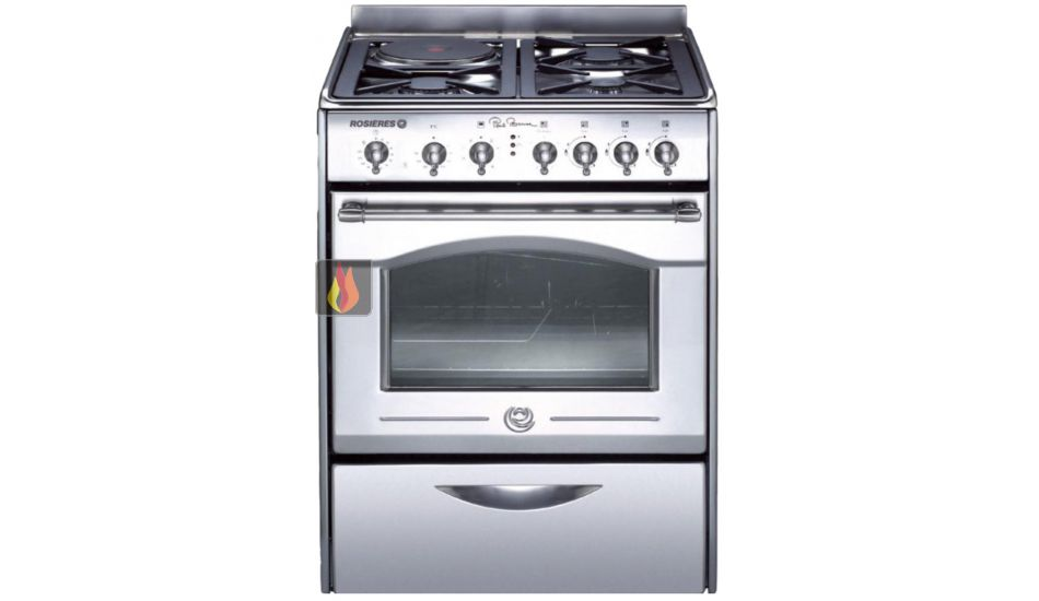 Cuisinière en inox de 60cm à 4 foyers mixtes gaz/électrique et 1 ...