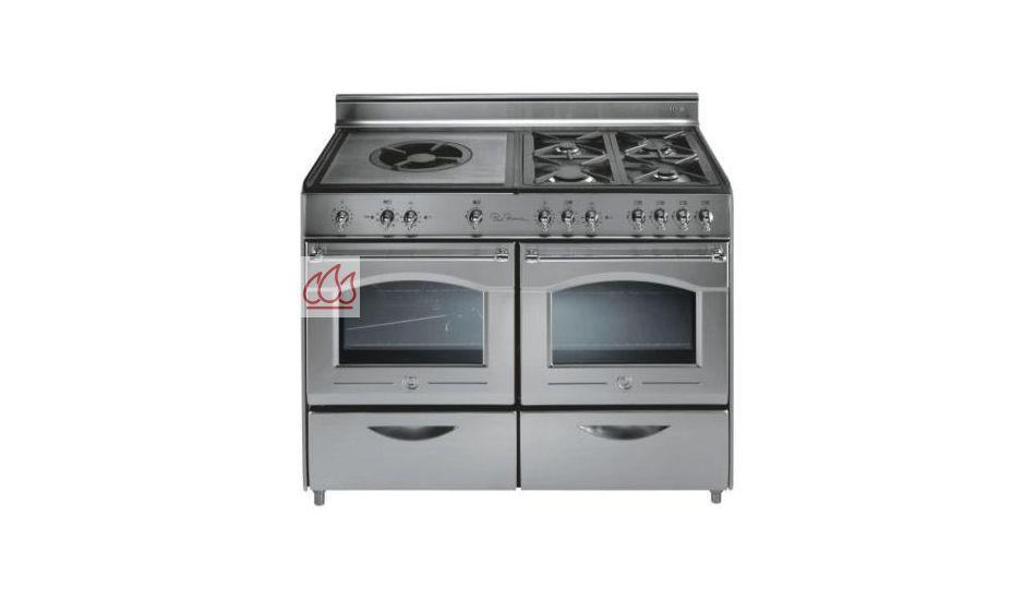 Piano de cuisson en inox 5 foyers gaz dont une plaque coup de feu professio - Piano de cuisson inox ...