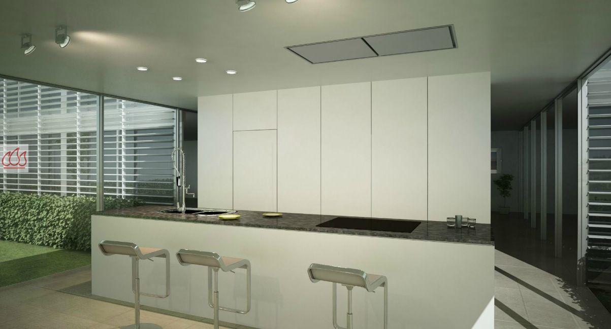 Hotte de plafond inox avec clairage halog ne extra large for Hotte de cuisine plafond