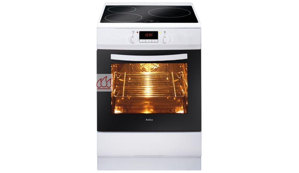 Cuisinière blanche de 60cm à 3 foyers induction et 1 four pyrolyse ...