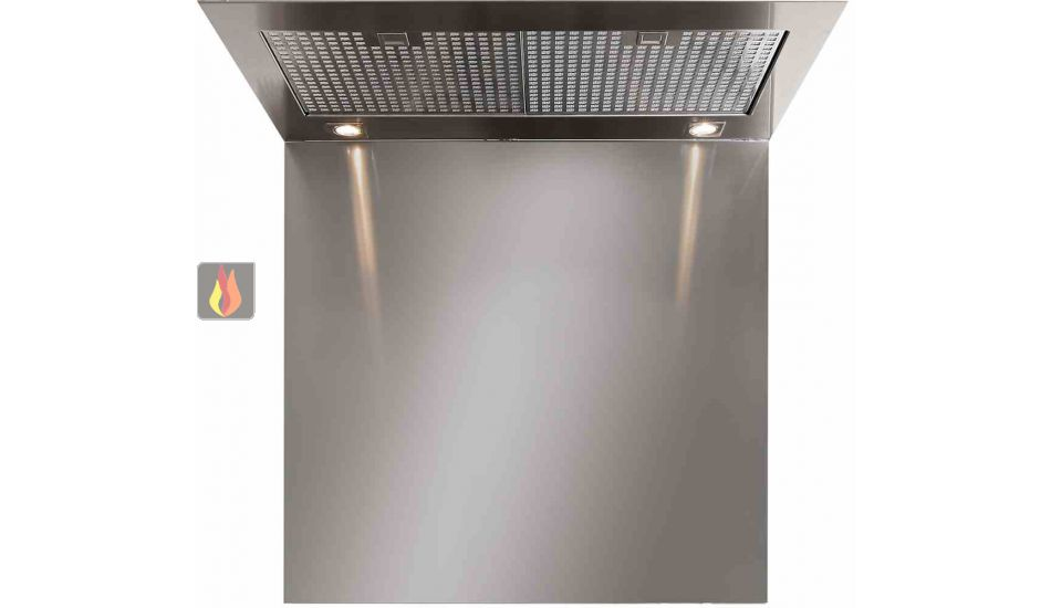 Cr dence en inox pour hotte steel h75 l70cm steel cucine for Credence pour hotte