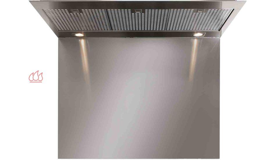 Cr dence en inox pour hotte steel h75 l90cm steel cucine for Credence pour hotte
