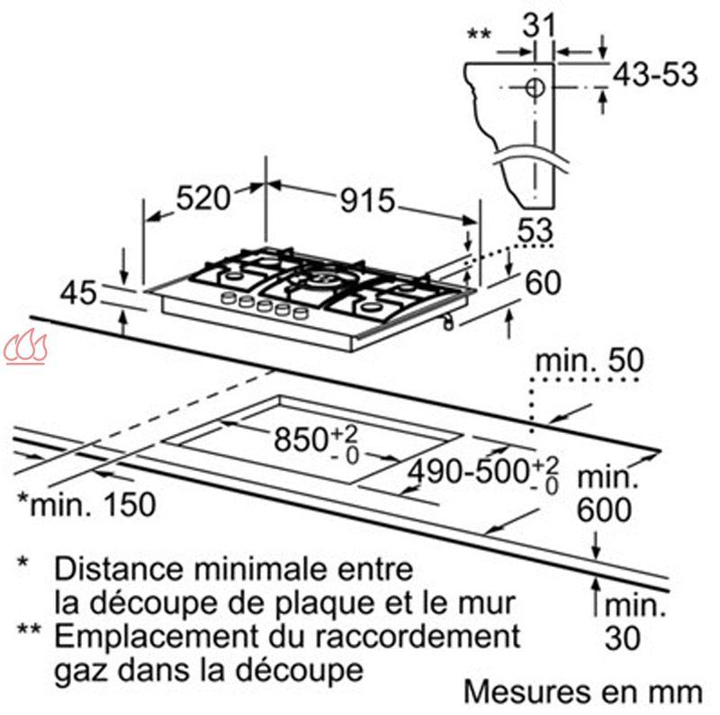 Table de cuisson gaz 90 cm encastrable inox 5 foyers - Table de cuisson 90 cm gaz ...