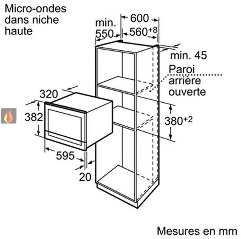 micro ondes de 21l encastrable de faible profondeur. Black Bedroom Furniture Sets. Home Design Ideas