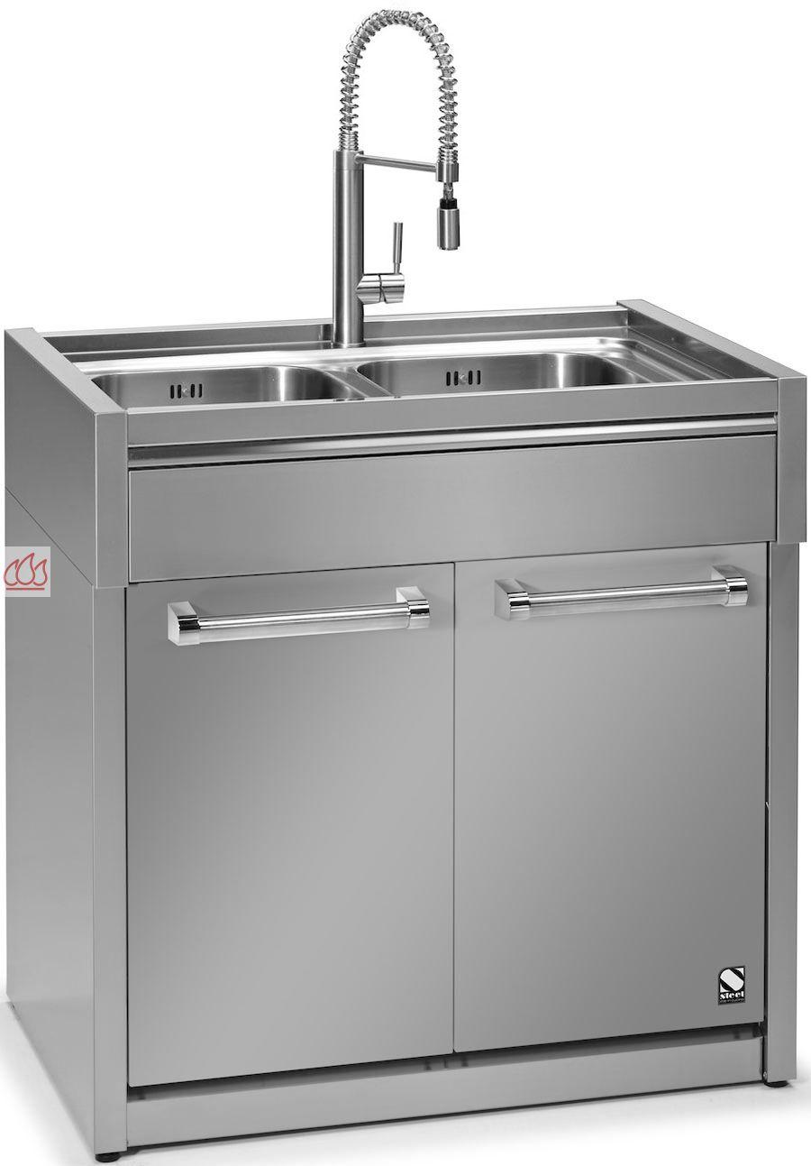 Module de cuisine vier avec double cuves 90cm steel for Evier double de cuisine