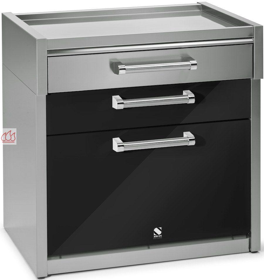 module de cuisine plan de travail avec 3 tiroirs 90cm steel cucine ec ste1602 mon espace cuisson. Black Bedroom Furniture Sets. Home Design Ideas