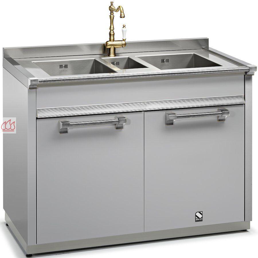 Module de cuisine vier avec triple cuves 120cm steel for Cuisine avec electromenager offert