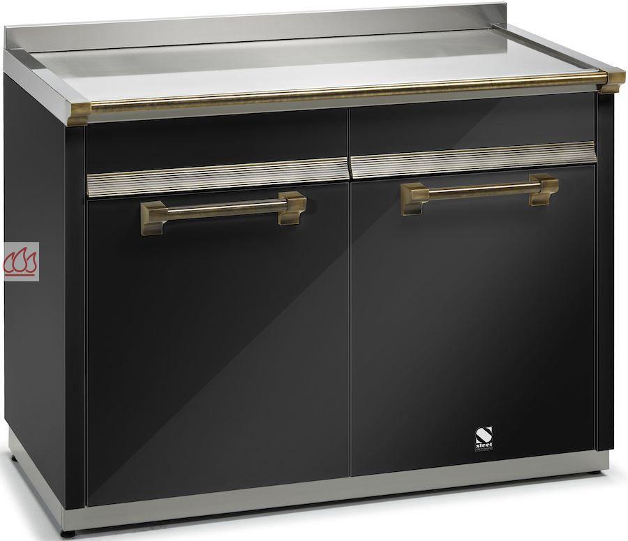 module de cuisine plan de travail inox avec 2 tiroirs et 2 placards 120cm steel cucine ec. Black Bedroom Furniture Sets. Home Design Ideas