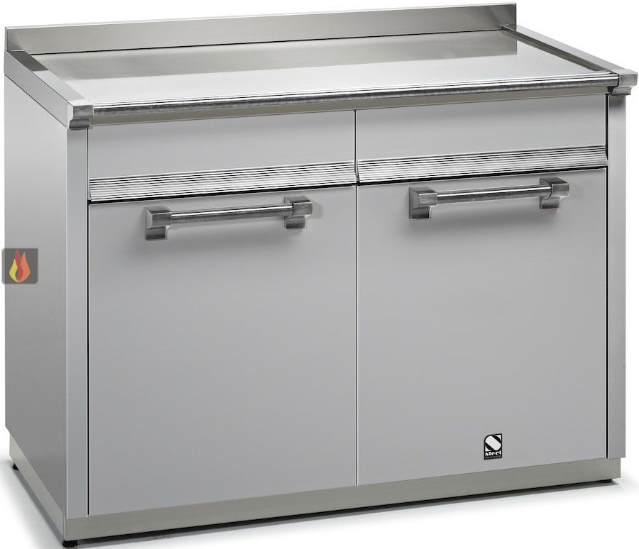 Module de cuisine plan de travail inox avec 2 tiroirs et 2 - Dimensions plan de travail cuisine ...