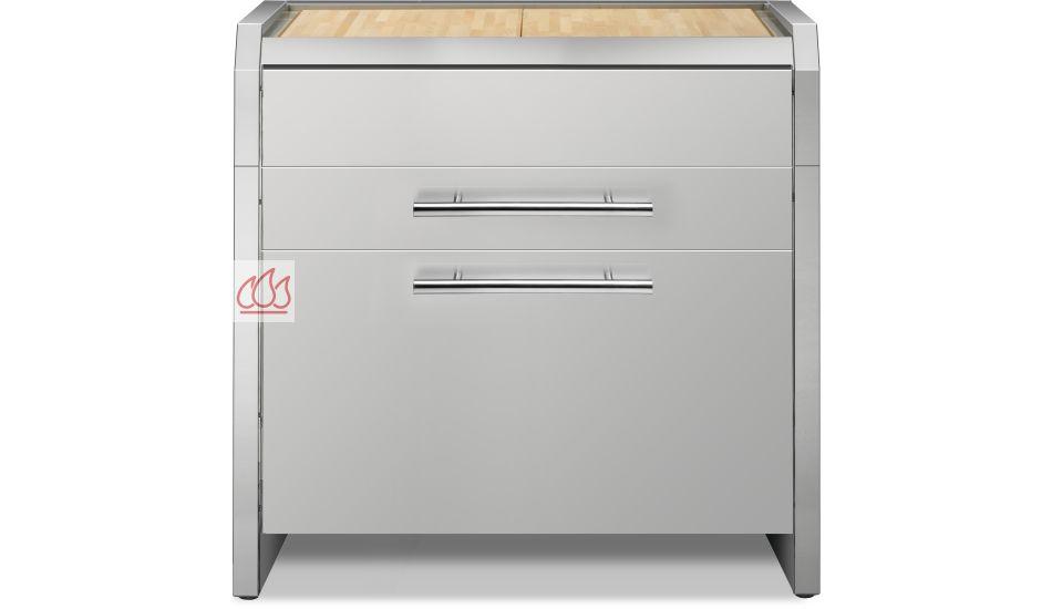 Module de cuisine plan de travail bois avec 3 tiroirs 90cm for Module cuisine