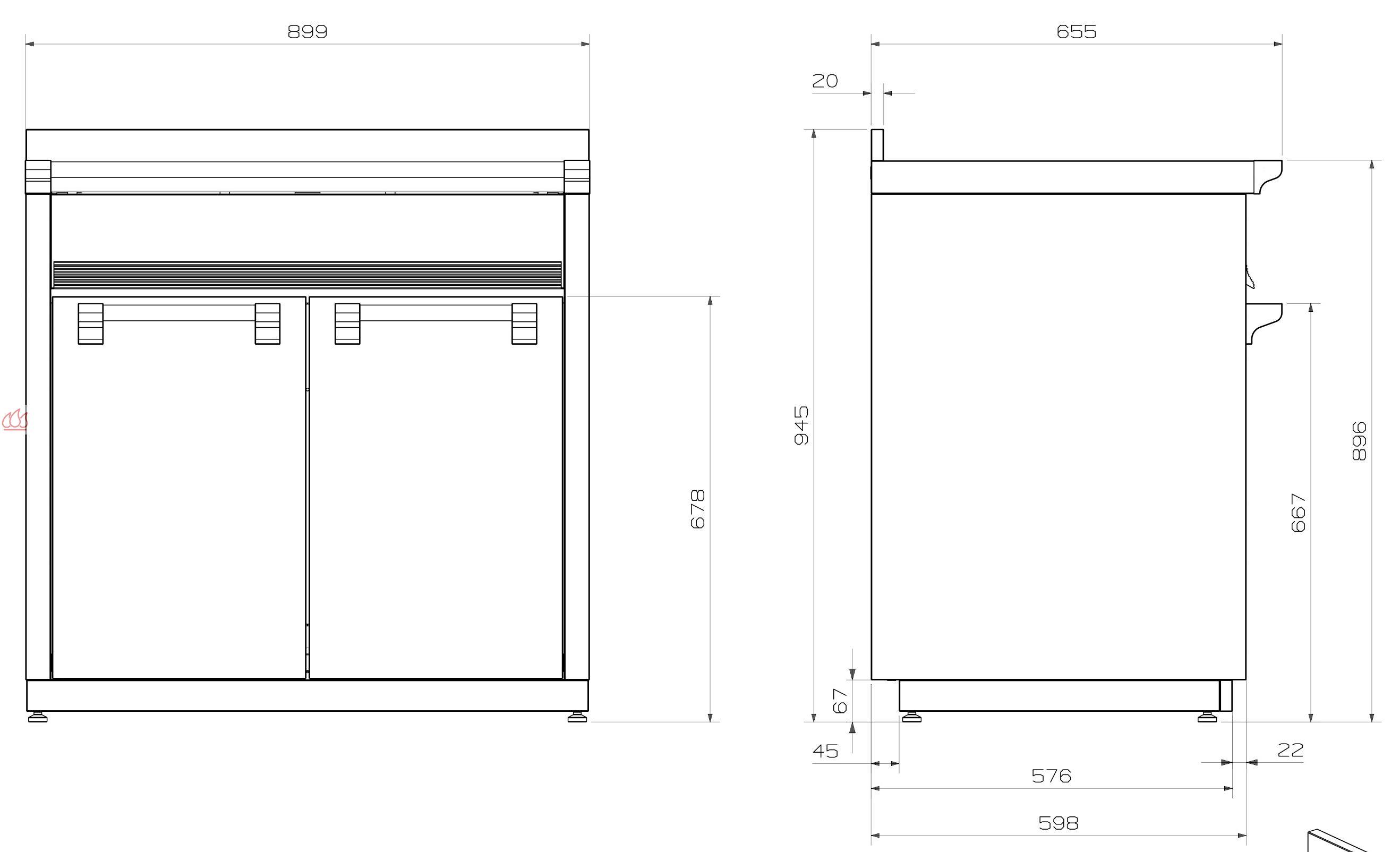 Module de cuisine vier avec double cuves 90cm steel for Module cuisine