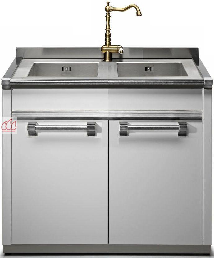 Module de cuisine vier avec double cuves 90cm steel for Cuisine avec electromenager offert
