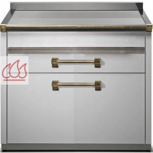 module de cuisine plan de travail inox avec plateau bois et 3 tiroirs 90cm steel cucine ec. Black Bedroom Furniture Sets. Home Design Ideas