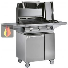 barbecue 3 bruleurs gaz avec plan de travail en inox. Black Bedroom Furniture Sets. Home Design Ideas