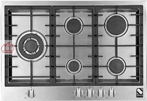 Table de cuisson gaz 75 cm encastrable inox 5 foyers steel for Table de cuisson gaz 85 cm