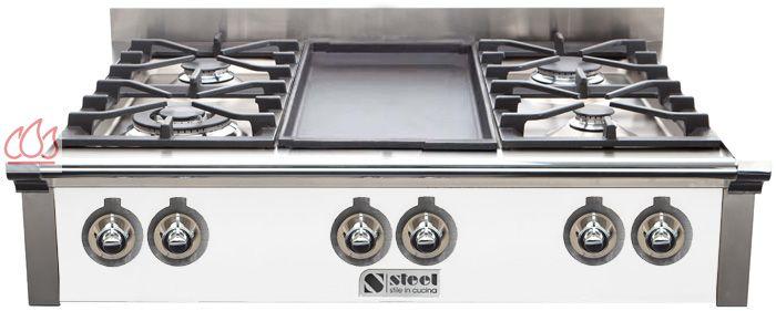 table de cuisson mixte gaz vitroc ramique 90 cm pose libre 6 foyers dont 1 plancha steel cucine. Black Bedroom Furniture Sets. Home Design Ideas