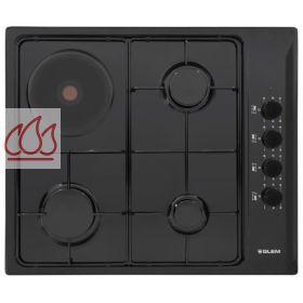 table de cuisson mixte gaz lectrique 60 cm encastrable noire 4 foyers glem ec gle306 mon. Black Bedroom Furniture Sets. Home Design Ideas