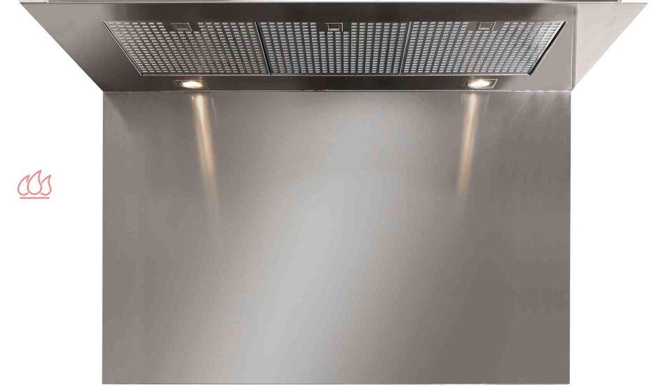 Cr dence pour hotte steel h75 l120cm steel cucine ec for Credence pour hotte