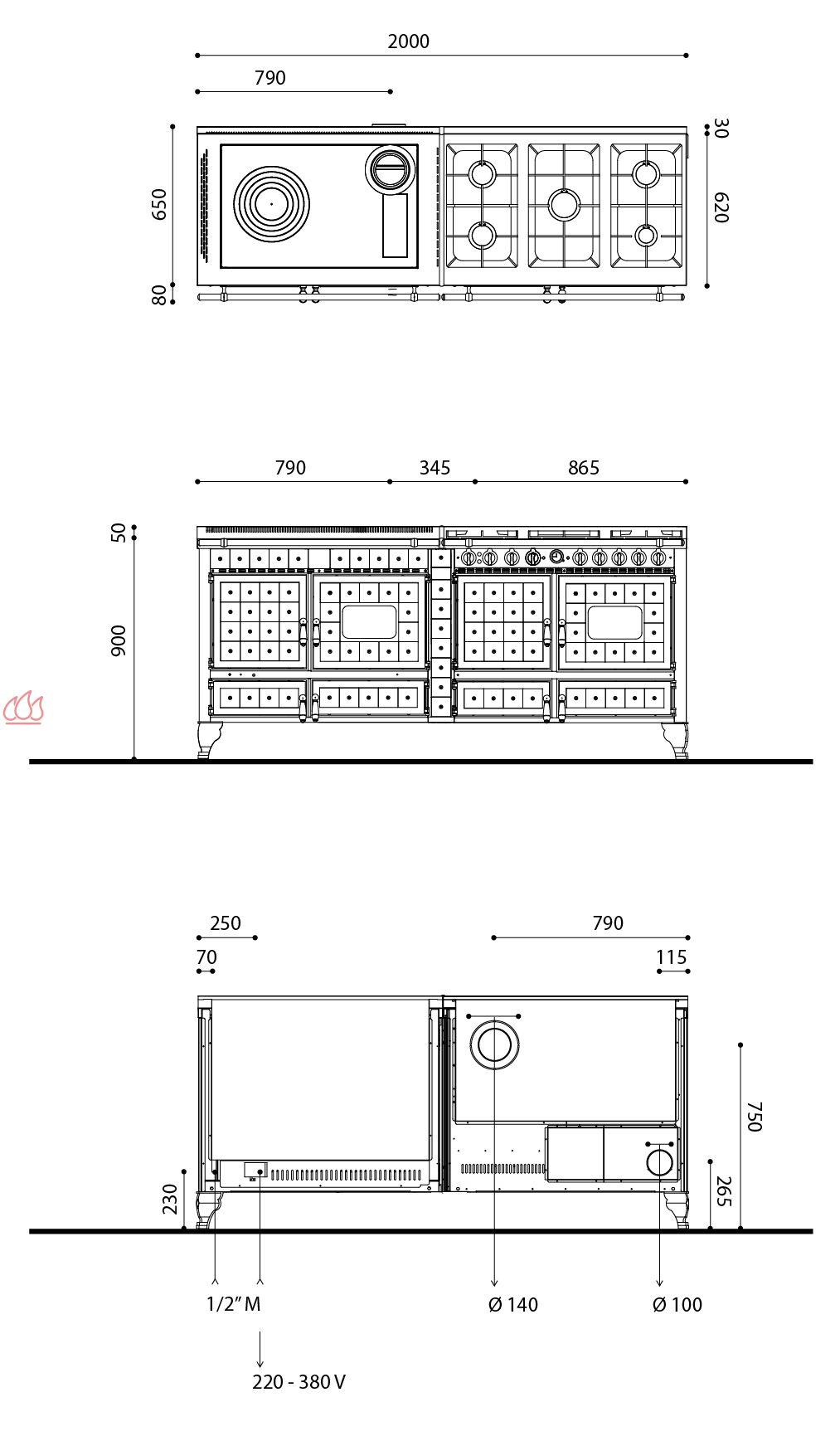 Piano de cuisson bois gaz et lectrique 200cm avec 3 fours et plaque de cui - Piano de cuisson 3 fours ...